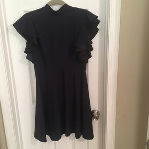 Blue ruffle sleeved dress